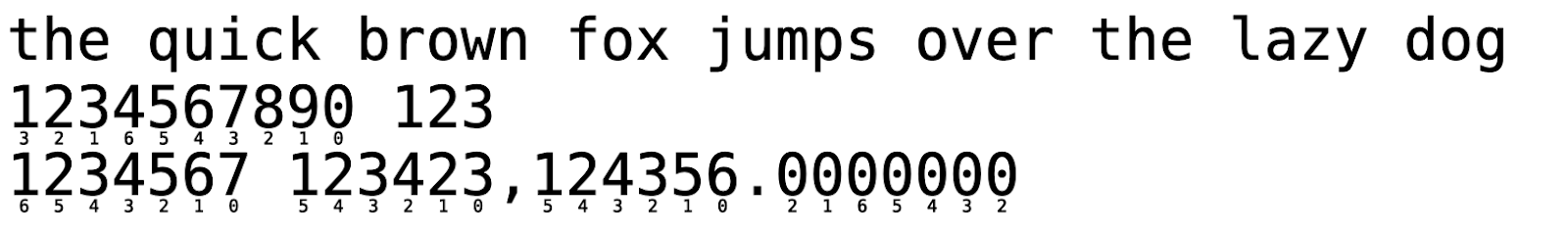 The debug version of the font