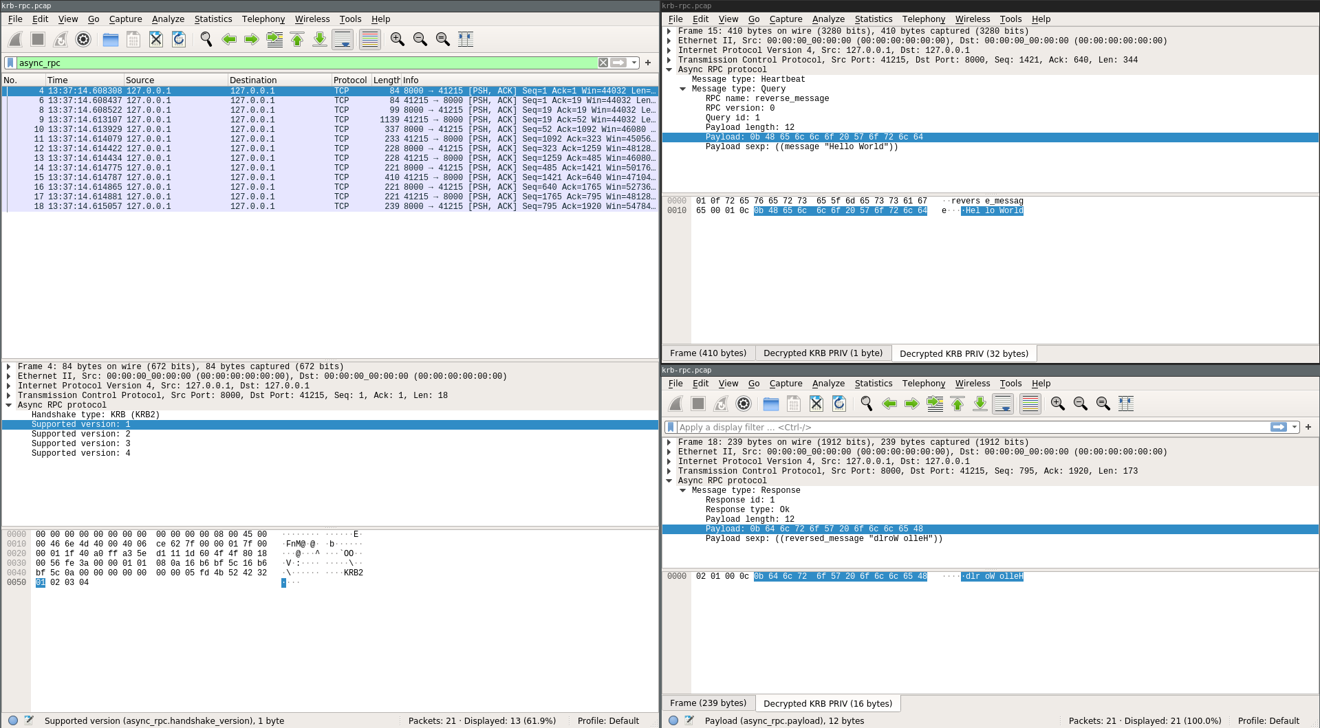 Wireshark screenshot with Async-RPC